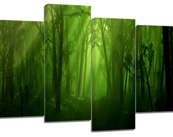 Green forest / photography / set of 4 new canvas split prints /32x20