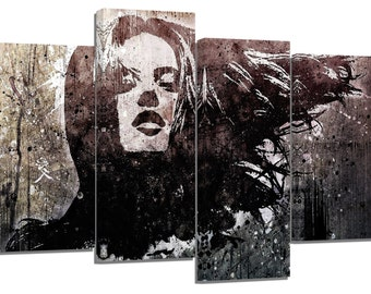 "stunning graffiti woman face/set of 4 new frames/ 32""x 20"""
