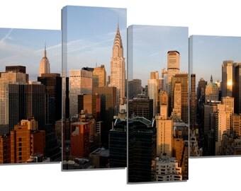 """new york manhattan/evening light/set of 4 new frames/ 32""""x 20"""""""