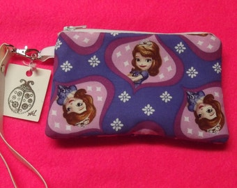 Handmade Adorable Sophia Wristlet with Vinyl Strap