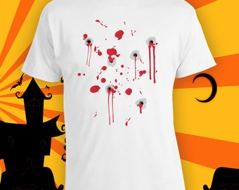 Bloody Halloween Costume, Bullet Holes Costume, Funny Halloween Party Shirt, Last Minute Halloween Costume, Adult Halloween Shirts CT-772