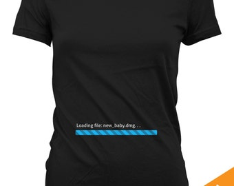 Installing Baby - Classic Mac OS Progress Bar. Funny Pregnancy Shirt for Proud Mothers, Mums, Mommy, Moms. T-shirt. CT-112