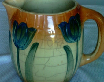 """Antique Roseville Pitcher """"Tulip"""" Pattern Approximately 100 Years Old"""