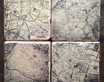 Paris Map Rome Map London Map Munich Map // Set of four Black and white Vintage Map Coaster Tumbled Marble Natural Stone Tile