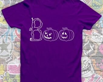 Halloween Tshirt-Vinyl Tshirt-Halloween costume-Boo Tshirt-Fancy dress-Scary Tshirt-Creepy halloween outfit-Short sleeved cotton Tee