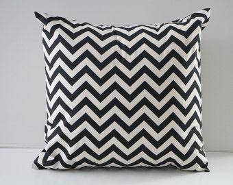 Black chevron pillow cover, pillow cover, chevron pillow, throw pillow, modern pillows, couch pillow, black pillow sham