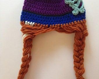 Ana and Elsa Disney Frozen Crochet Blue Hat, Girls Beanie with Braid