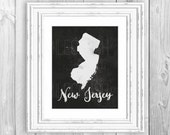 New Jersey Print New Jersey Map Printable New Jersey Black and White Map Printable New Jersey Love State Love New Jersey Decor Home Decor