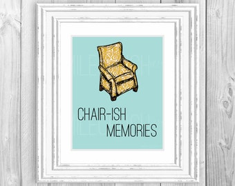 Printable Wall Art Quote Print Cherish Memories Chair Sign Sentimental Printable Living Room Art Typography Yellow Blue Sign 8x10 Digital