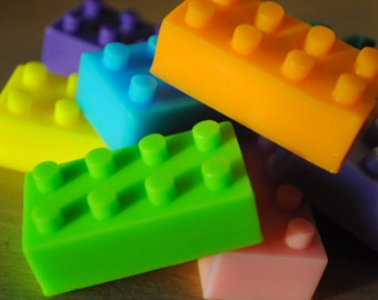 6 Brick Soap - Party favor, kid soap, nerdy soap, geek soap