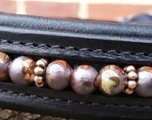 Bethlehem Steel hunter or dressage horse browband, in greys grays and amber with copper spacers