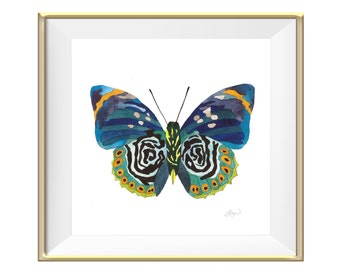 Blue and Orange Butterfly Watercolor Print - Beautiful Home Decor Art