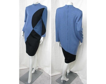 Vintage 1980s Dress BOB MACKIE Graphic Color Block Chemise Wool Jersey