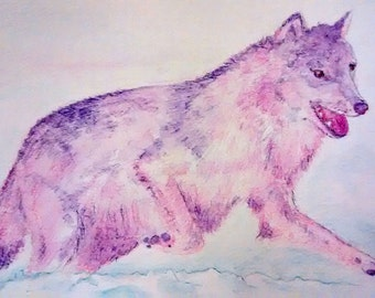 Original wolf painting 'Grey Wolf' A4
