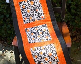 Table Runner, Halloween Jack O Lantern , Orange, Black, Fall