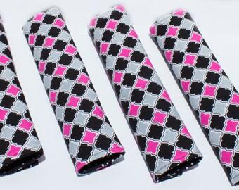 Black, Pink & Grey Quadrefoil Seat Belt Cushion/Cover/Pad