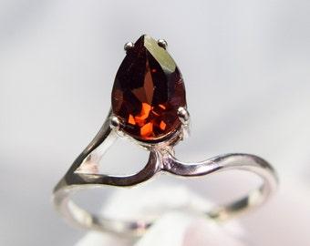 Garnet Pear Cut Sterling Silver Ring