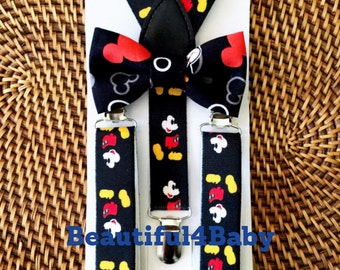 Mickey Mouse Inspired Suspenders and Bow Tie- 6mo. to 5 yrs old, Little Boy Mickey Mouse Suspenders, Cake Smash, Birthday Suspenders