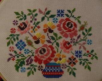 Cross Stitch Bouquet with Roses in Vase Hoop Art