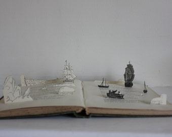 Davie Blake, the Sailor - Book Sculpture - Book Art - Book Paper Sculpture - Upcycled Book - Sculpture de Livre - Sea - Ships
