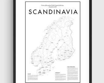 Scandinavia Minimal Map Poster, Black & White Minimal Print Poster, Art, Home Art, Minimal Graphics, Scandinavian, Map Home Decor