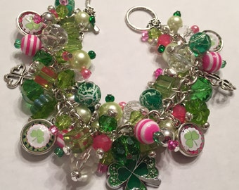 Handmade St. Patrick's Day Charm Bracelet: Charm Bracelet with various Green, Hot Pink and Clear Beads with Shamrock charms