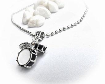 Drum Kit Necklace in Black & White - Customisable!