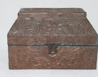 Beautiful Vintage Copper Plated Decorated Wooden Box