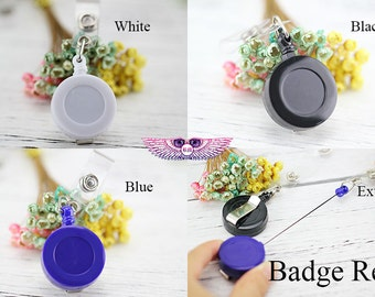 DIY Badge Reel Blank - Logo Retractable Badge Reels - Name ID Badge Clip - Badge Lanyard - Badge Holder - Swivel Spring Clip