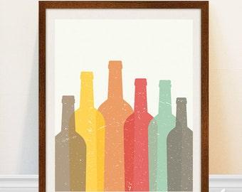 Wine Bottle Print - Retro Kitchen Art - Wine Bottle Silhouettes - Wine Art Print - Vintage Bar Sign - Kitchen Wine Print