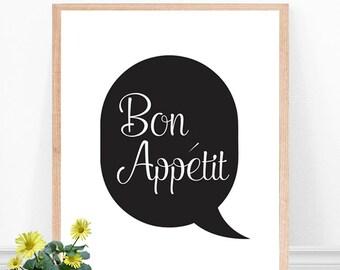 Bon Appetite Print -  Kitchen Art Print - Kitchen Quote, Minimalist Kitchen Print, Kitchen Poster, Black and White, French Kitchen Art