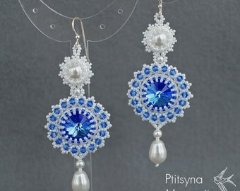 "Bead woven earrings ""Sapphire"". Beadwoven earrrings with Swarovski crystal and pearl. Beaded earrings. Bead weaving, beadwork"