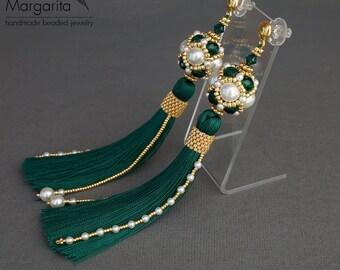 """Tassel earrings """"Emerald and White"""", long tassel earrings, beaded tassel earrings, long earrings, beaded long earrings, beadwork earrings"""