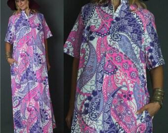 Vintage 70's 1970's Boho Pink Purple Floral Paisley Caftan Hippie Festival Party Boho Maxi Dress SML