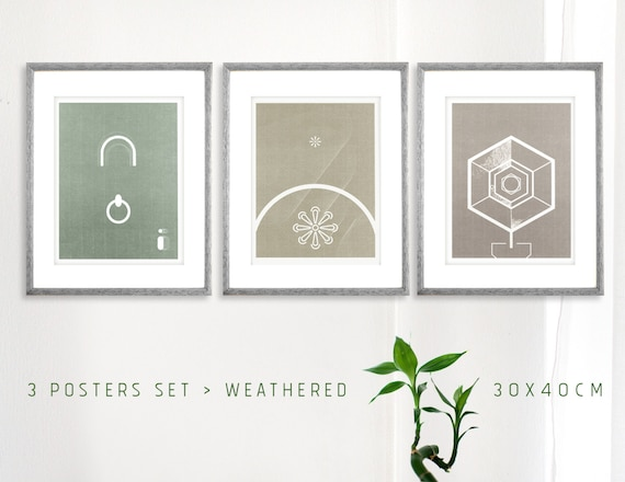 Office Wall Decor Set : Three prints set home and office wall decor by theroundbutton