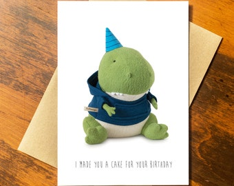 Birthday T-Rex Card, Funny Birthday Card,  Funny Recycled Paper Greeting Card - Recycled Paper made in USA using Wind Power