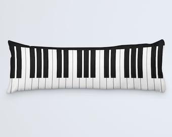 Piano Body Pillow, Body Pillow Cover, Modern Long Pillow, Body Pillow 20x54, Black White Pillow, Keyboard Pillow, Music Bed Pillow