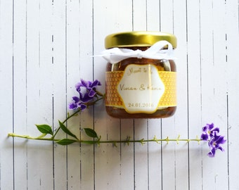 Honey Jar wedding favour bonbonniere. Local honey, handmade, customised to your wedding