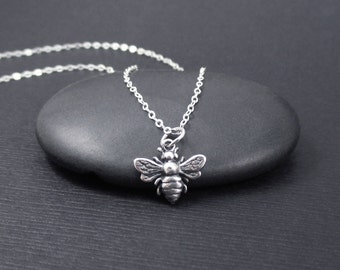 Honey Bee Necklace Sterling Silver Tiny Honeybee Bumble Bee Charm Pendant