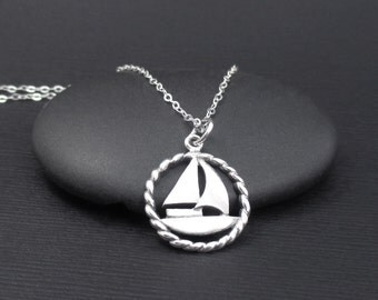 Sailboat Necklace Sterling Silver Sailboat Charm Pendant, Silver Boat Necklace, Yacht Necklace, Beach Jewelry, Ocean Jewelry