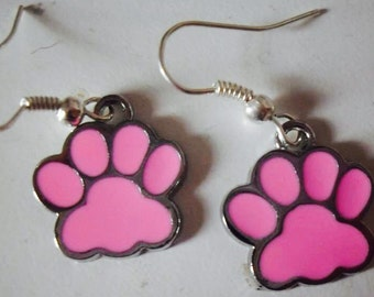 Earrings with pink cat zanpine