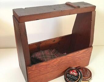 Vintage Handmade Rustic Wood Shoe Shine Box