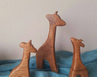 Wooden Giraffe, waldorf inspired wooden animal toys, African animal