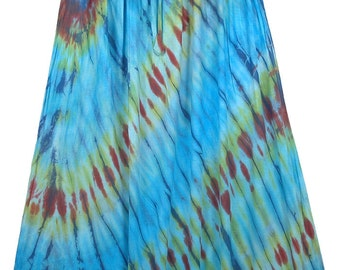 Maxi Womens Skirt in Waterfall Colors