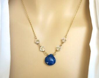 Blue Lapis Necklace, Blue Stone Gold Necklace, Cobalt Blue Necklace, Blue Drop Necklace, Crystal Necklace,  Gold Necklace Lapis Pendant Gift
