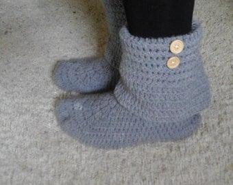 Women's Crochet Light Gray Slouchy Slipper Boots, Knitted Ladies Slippers, Leg Warmer Booties, Warm Winter Slipper Socks, Cool Grey Boots