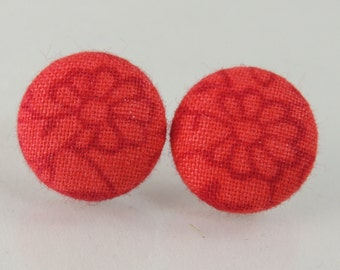 Red floral fabric button earrings