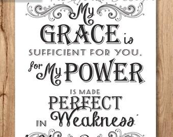 8x10 WHITE Sufficient Grace Chalk Art, Bible Verse, Printable Scripture art vintage Chalkboard 2 Corinthians 12 v 9 Instant Download