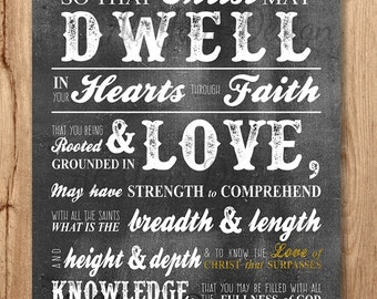"""That Christ may dwell in your hearts through faith...rooted & grounded in love - Ephesians 3 vs 17-19 - GOLD Sizes: 8""""x10"""" + 1 w/bleed"""