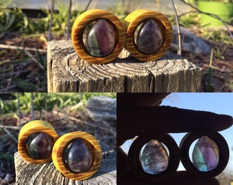 "1-1/4"" (32mm) osage orange eyelets with rainbow fluorite teardrops"